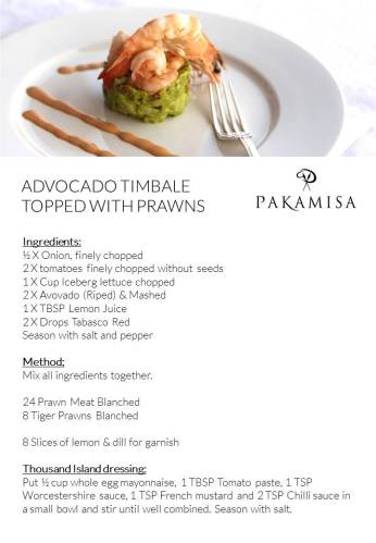 Pakamisa Recipes - ADVOCADO TIMBALE TOPPED WITH PRAWNS